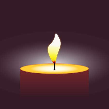 lighting background: simple wax orange candle lighting fire on dark violet background. vector illustration Illustration