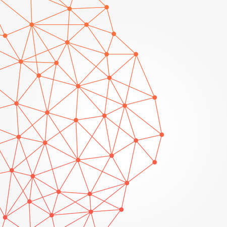 Abstract background with simple bright orange networking web. vector illustration