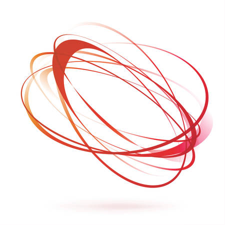 bright red orange swirl wind moving circle element. vector illustration Illustration