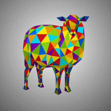 Colorful sheep. Vector illustration in polygonal style. Low poly goat. Forest animal on white background. Illustration