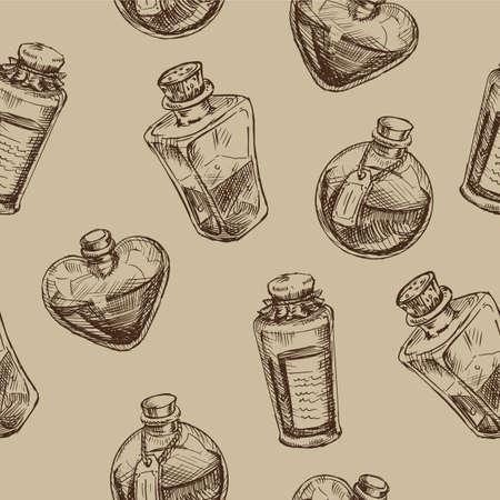 마법의 플라스 크와 원활한 패턴입니다. 과학 묘약 낙서 스타일 스케치. 연금술과 훌륭한 과학.