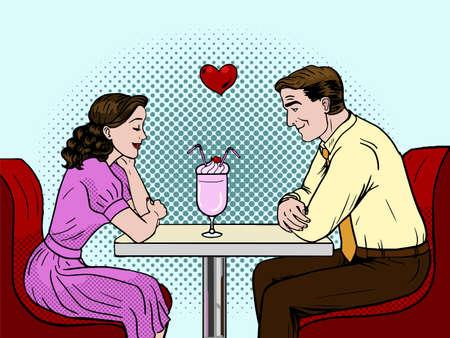발렌타인 데이 벡터 일러스트 레이 션. . 레스토랑에서 데이트 커플. 팝 아트 스타일 벡터 일러스트 레이 션.