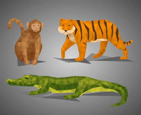 Low poly animal topic compilation. Vector illustration set in polygonal style. Monkey, tiger, and crocodile on gray background.