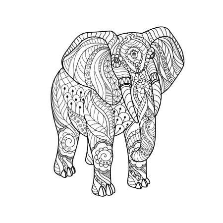 Elefante Decorativo Página Para Colorear Antiestrés Para Adultos ...