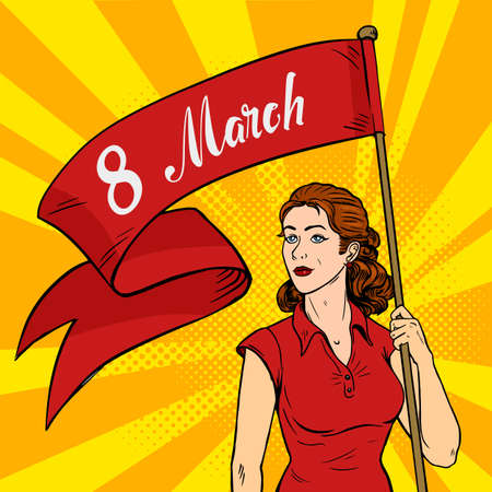 Emancipated woman holds a red placard. Feminism rally. International Women s Day pop art retro style. Vector illustration. Illustration