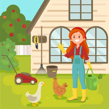 Girl with red hair in the garden. Farming. Chicken and goose. Lawn Mower. Country house. Green grass. Agricultural animals. Vector illustration in flat style Illustration