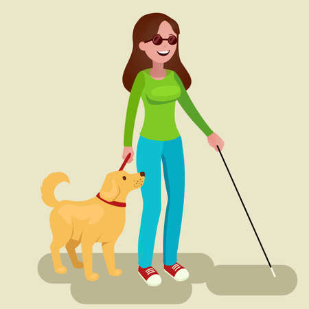 Girl disabled and guide-dog. Blind teenager with his faithful companion. Vector illustration in flat style.