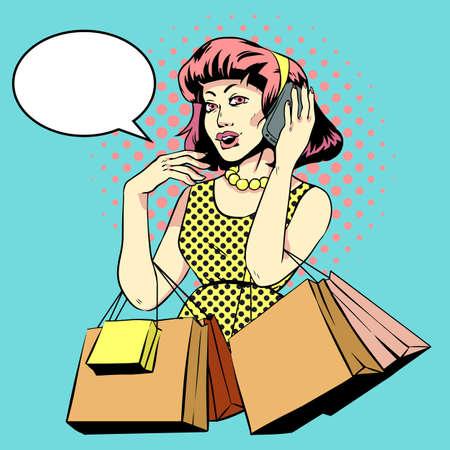 mujer en el supermercado: Girl on shopping pop art. Rich lady speaks on the phone. Illustration in comic style,