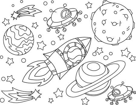 The rocket flies to the moon coloring book. Antistress planet, earth and moon Vetor illustration in zentangle style. EPS 10.