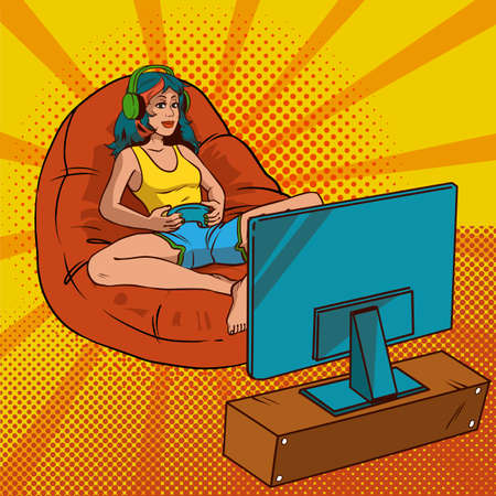 hair style: Girl gamer pop art. A girl with multicolored hair is sitting in a sleeping bag and playing video game. Vector illustration in comic style. EPS 10