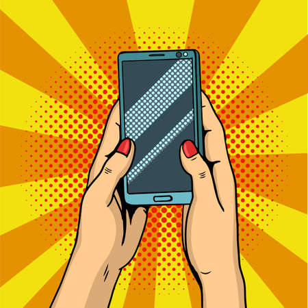 Hands holding smartphone pop art. Female hands hold a mobile phone. Vector illustration in comic style. Illustration