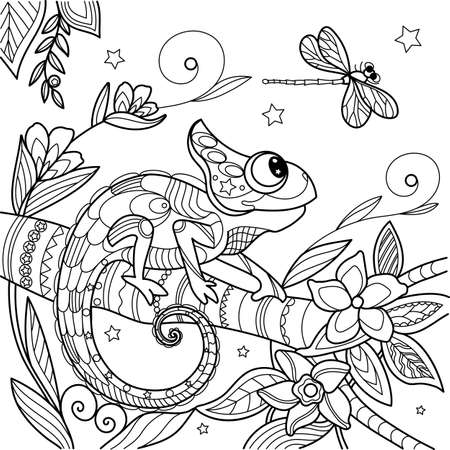 Chameleon antistress. Lizard on a branch. Dragonfly and stars. Vector illustration in zentangle style. Illustration