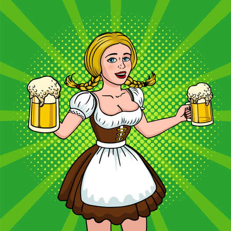 Beautiful blonde with two mugs of beer. Girl oktoberfest pop art. Vector illustration in comic style. EPS 10 Illustration