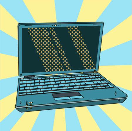 Laptop in pop art. Open digital notebook in comic style. Vector illustration. EPS 10.