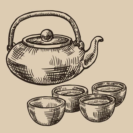 Japanese tea kettle and bowls engraved. Asian cups for tea in the sketch style. Vector illustration. EPS 10.