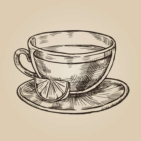 Glass cup with lemon sketch. Transparent dishes for tea and citrus. Vector illustration in style of engraving.