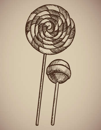 Engraving Lollipops. Engraving two candies. A huge spiral lollipop and a round candy on a stick. Engraving menu for the restaurant. Illustration