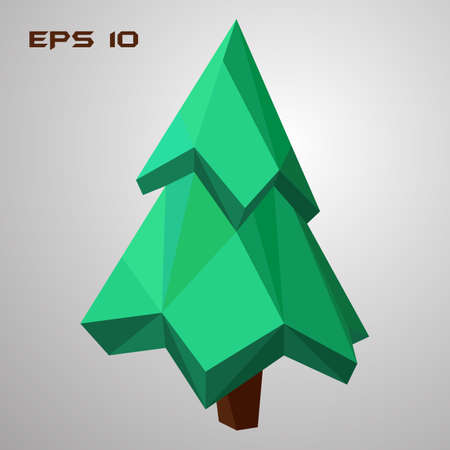 Pine low poly. Green spruce 3d. Geometric tree. Vector illustration. EPS 10 Illustration