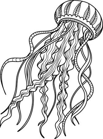 Jellyfish antistress. Hand drawn sketch for adult antistress coloring page. Freehand illustration. Monochrome sketch.