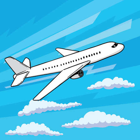 Plane takes off pop art style. Floating in clouds airplane vector illustration in comic style. Illustration