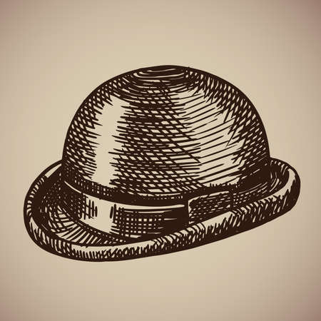 Bowler engraving. Retro clothing began the twentieth century. Vector illustration in sketch style. EPS 10.