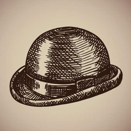 Bowler gravure. Retro kleding begon de twintigste eeuw. Vectorillustratie in schetsstijl. EPS 10.
