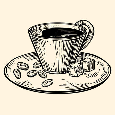 A cup of coffee on a saucer. Cubes of sugar and coffee beans. Illustration in sketch style. EPS 10.