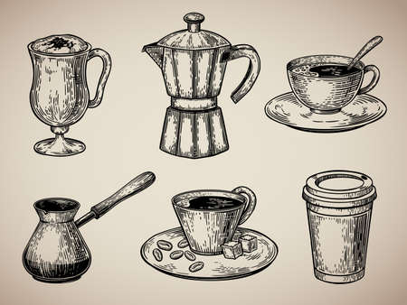 Coffee set engraving. Latte, Turk, coffee pot, cup with coffee, cardboard sketch style. Illustration in sketch style. EPS 10. Standard-Bild