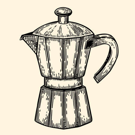 Coffeepot. Illustration in sketch style. EPS 10.
