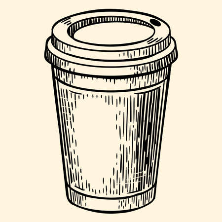 Cardboard coffee cup. Illustration in sketch style. EPS 10.
