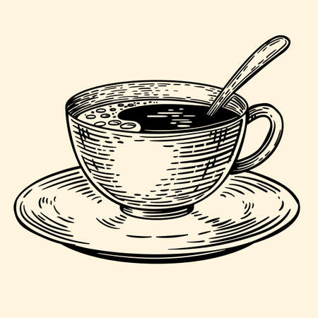 A cup of coffee on a saucer with a spoon. Illustration in sketch style. EPS 10.