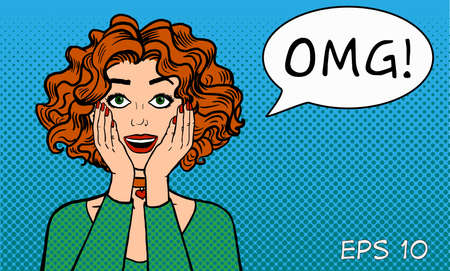 Sincere womens surprise. A girl with an open mouth says OMG! Retro comics style. Pop art. Illustration on a blue background.