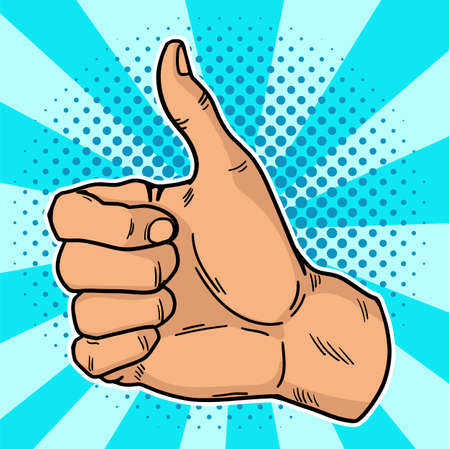 Vintage pop art like. A positive gesturein social networks. Thumb up in retro style on a blue-bubble background. Illustration. EPS 10.