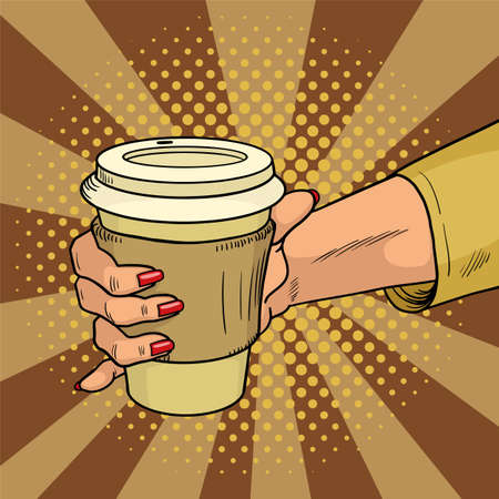 Female hand holds hot cardboard cup with coffee comic style. During a working break she drinks energy drink. Vintage pop art retro illustration. EPS 10. Standard-Bild