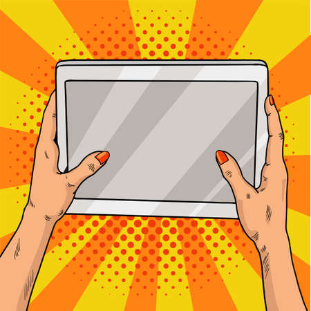 Hands holding a tablet pop art. Female hands with red manicure hold a laptop computer. Vintage pop art retro illustration. EPS 10 Stock Photo