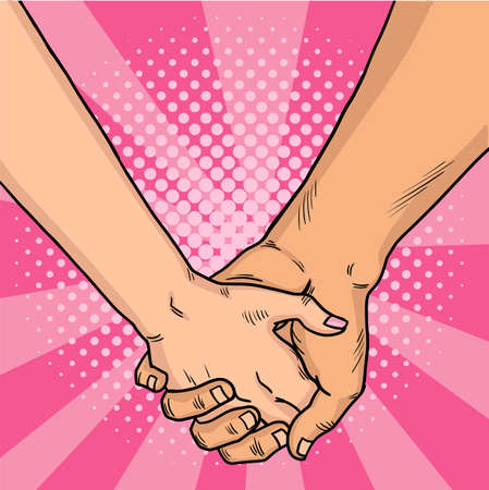 Hands of lovers comic style. Two lovers crossed their arms. Valentine's Day. Pink background. Vintage pop art retro illustration. EPS 10.
