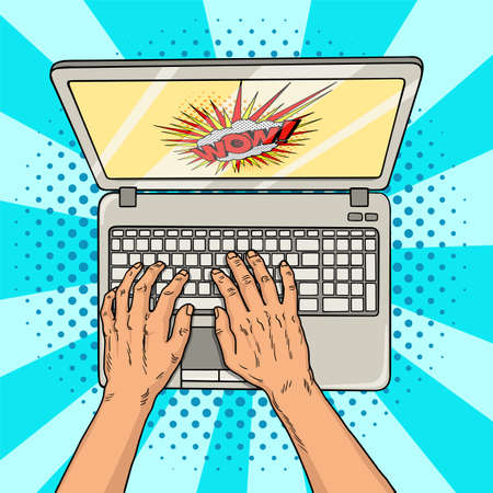Hands on laptop comic style. Office worker or freelancer at work on a personal computer. Modern technologies. Vintage pop art retro illustration. EPS 10.