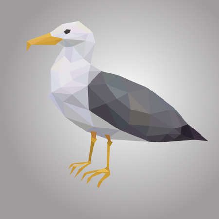 Seagull low poly. Low polygonal seabird. Animal with white hull and black wings Illustration