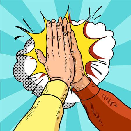 Handen geven vijf pop-art. Het mannetje dient een gebaar van succes in. Gele en rode truien. Vintage cartoon retro vectorillustratie.