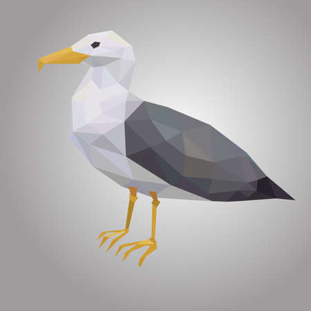 Seagull low poly. Low polygonal seabird. Animal with white hull and black wings Vector illustration. EPS 10.