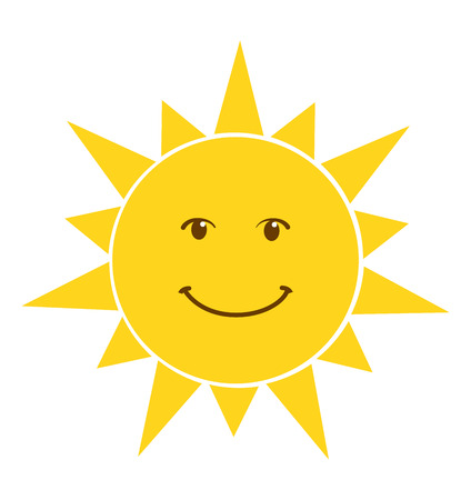 Happy smile sun icon vector illustration isolated on white background Stock Illustratie