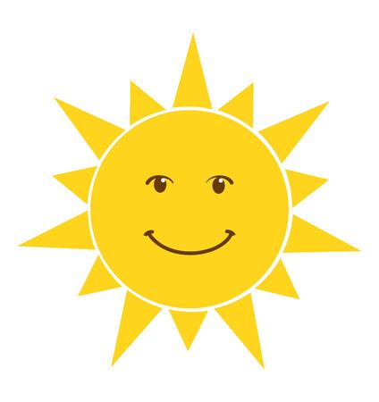 Glückliches Lächelnsonnenikonenvektorillustration lokalisiert auf weißem Hintergrund Vektorgrafik