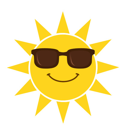 Summer sun smiling face with sunglasses vector illustration isolated on white background
