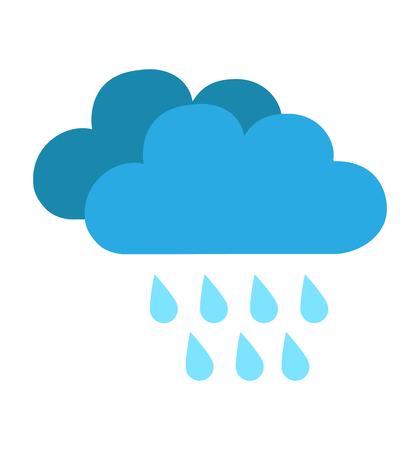 Icono de nube de lluvia aislado en la ilustración de vector de fondo blanco para el diseño de sitios web, aplicaciones, clima
