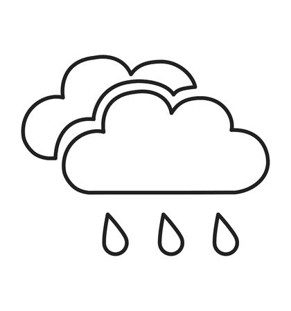 Rain and cloud icon vector line Cloud and rain icon. Vector Illustration