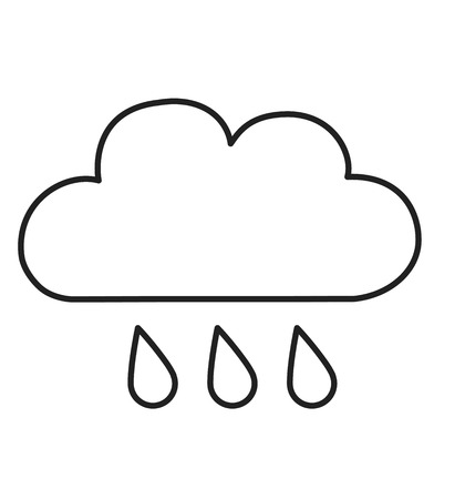 Line icon rain white vector illustration isolated on white