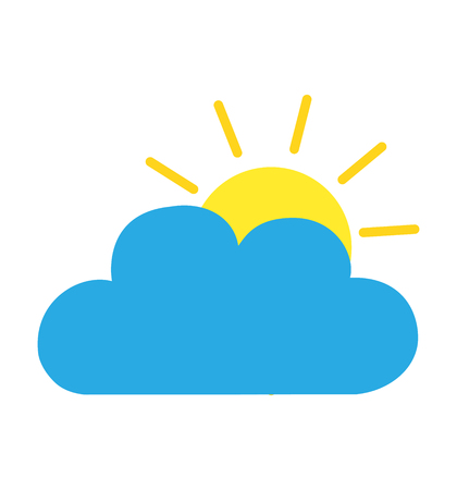 Cloud sun icon flat vector Illustration isolated on white eps 10