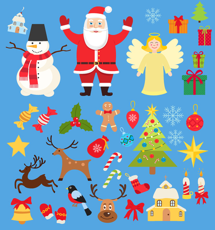Set of Christmas characters and elements icons, santa and snowman and deer in cartoon flat style isolated