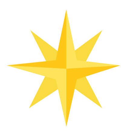 Christmas gold star icon vector isolated on white eps 10
