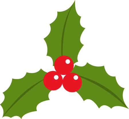 Holly berry leaves christmas icon flat vector illustration isolated on white eps 10